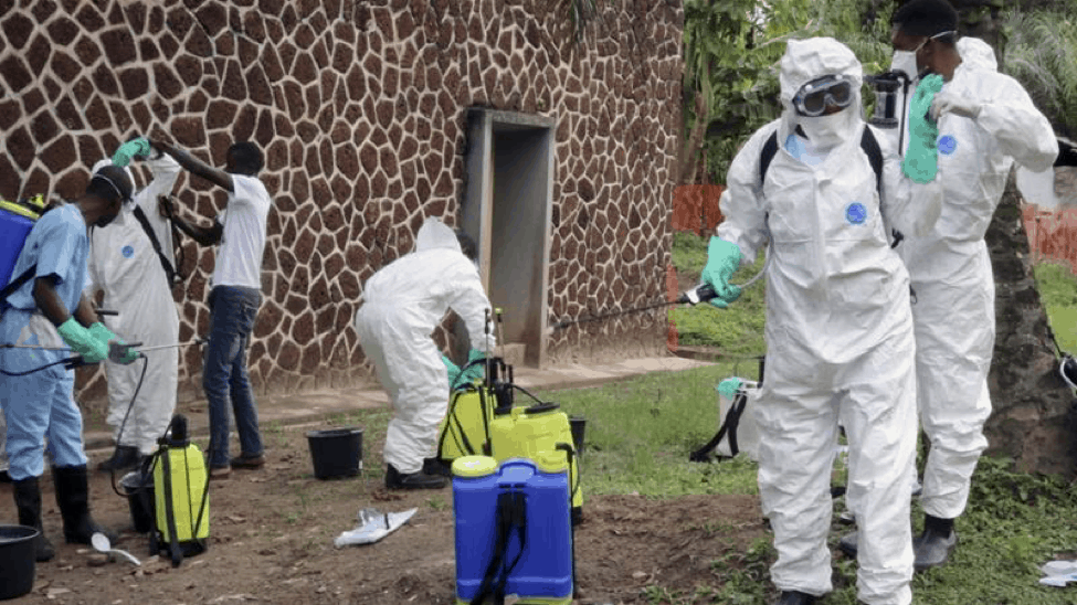 Healthcare workers prepare to locate and quarantine Ebola patients. 05 August 2018. John Bompengo via Associated Press