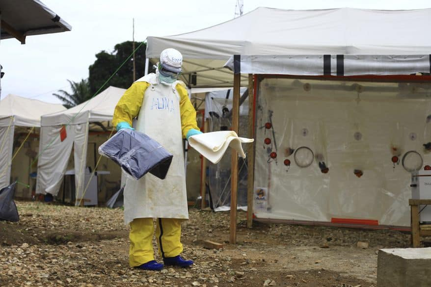 Sept 9, 2018, a health worker in protective gear works at an Ebola treatment centre in Beni, Eastern Congo. Image: AP Photo/Al-hadji Kudra Maliro